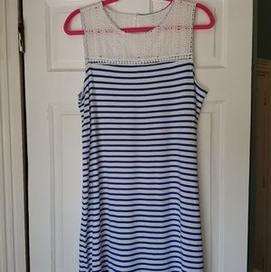 Blue and white stripped shift dress